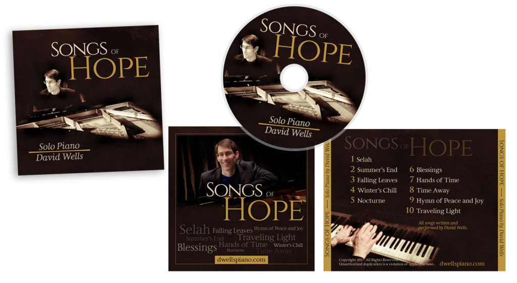 Songs of Hope CD Packaging for David Wells Piano